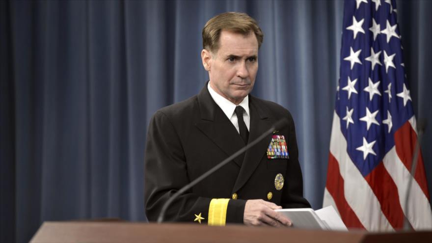 El portavoz del Pentágono, John Kirby, durante una conferencia de prensa.