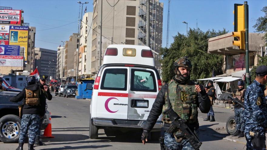 La escena de un doble atentado suicida en Bagdad, capital de Irak, 21 de enero de 2021. (Foto: AFP)
