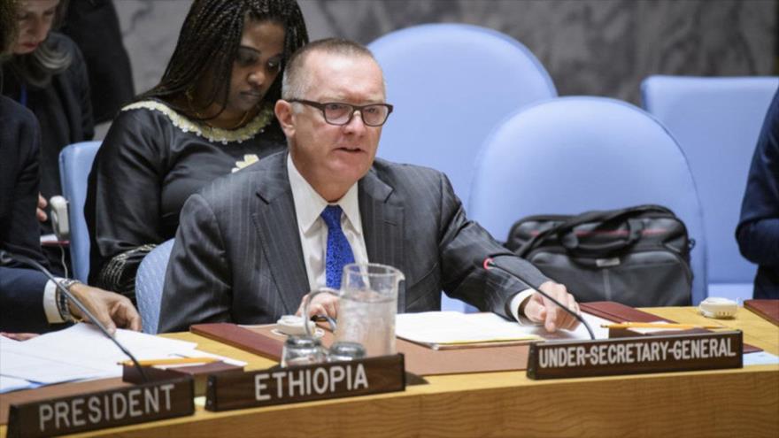 Jeffrey Feltman, vicesecretario de Asuntos Políticos de la ONU, preside una sesión plenaria del Consejo de Seguridad de Naciones Unidas en Nueva York.
