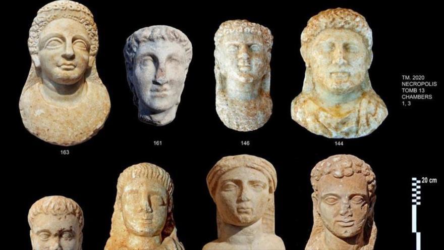 Bustos de las momias halladas en la necrópolis egipcia de Taposiris Magna, al oeste de Alejandría. (Foto: Ministerio de Turismo y Antigüedades de Egipto)