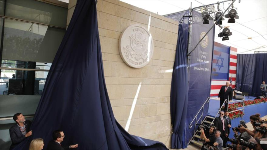 Inauguración de la embajada de EE.UU. en Al-Quds (Jerusalén) tras su traslado desde Tel Aviv, 14 de mayo de 2018. (Foto: AP)
