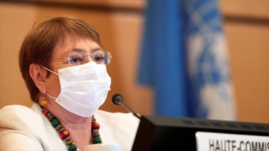 Alta comisionada de la ONU para los DDHH, Michelle Bachelet, en una sesión del Consejo de DDHH de la ONU, Ginebra, 30 de junio de 2020. (Foto: AFP)