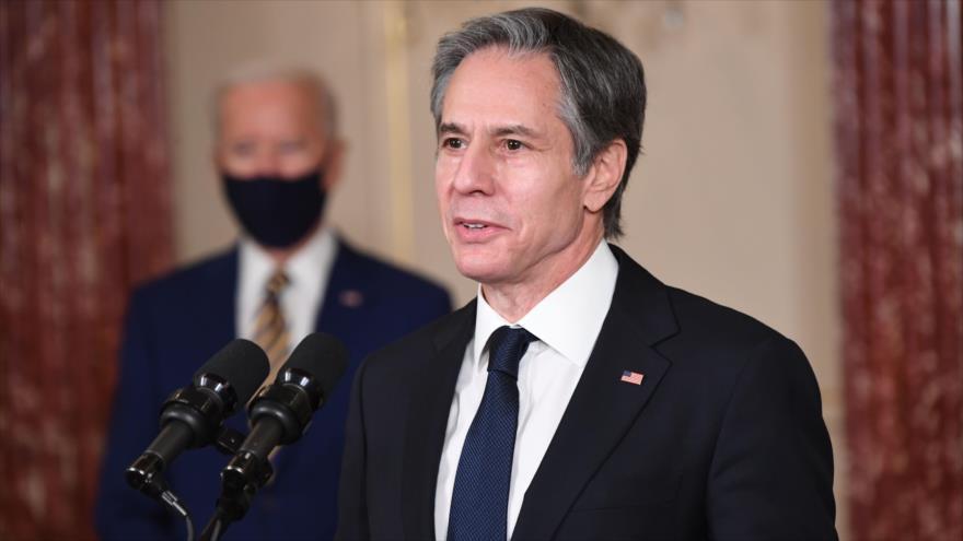 El secretario de Estado de EE.UU., Antony Blinken, ofrece una rueda de prensa en Washington D.C., la capital, 4 de febrero de 2021. (Foto: AFP)
