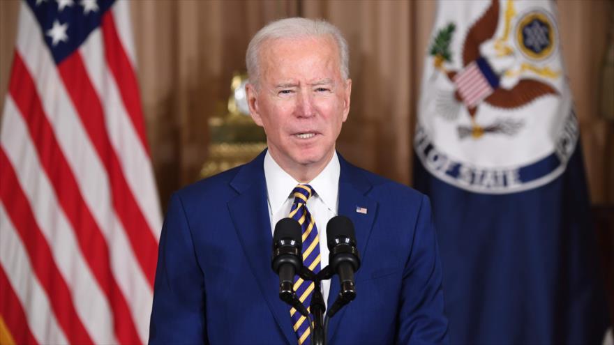 El presidente de EE.UU., Joe Biden, en un discurso en Washington, 4 de febrero de 2021. (Foto: AFP)