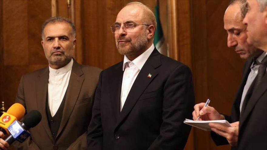 El presidente de la Asamblea Consultiva Islámica de Irán (Mayles) Mohamad Baqer Qalibaf, en una conferencia de prensa en Moscú, 8 de febrero de 2021. (Foto: Icana.ir)