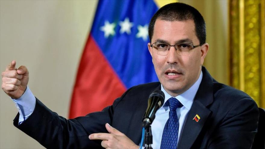 El canciller de Venezuela, Jorge Arreaza, habla durante un evento en Caracas, la capital.