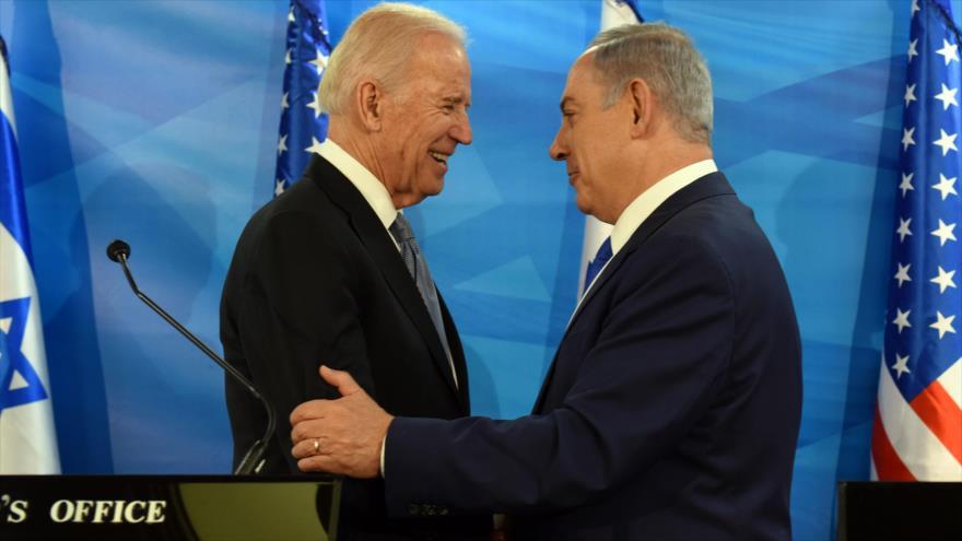 El entonteces vicepresidente de EE.UU., Joe Biden, y el primer ministro israelí, Benjamín Netanyahu, en Al-Quds, 9 de marzo de 2016. (Foto: AFP)