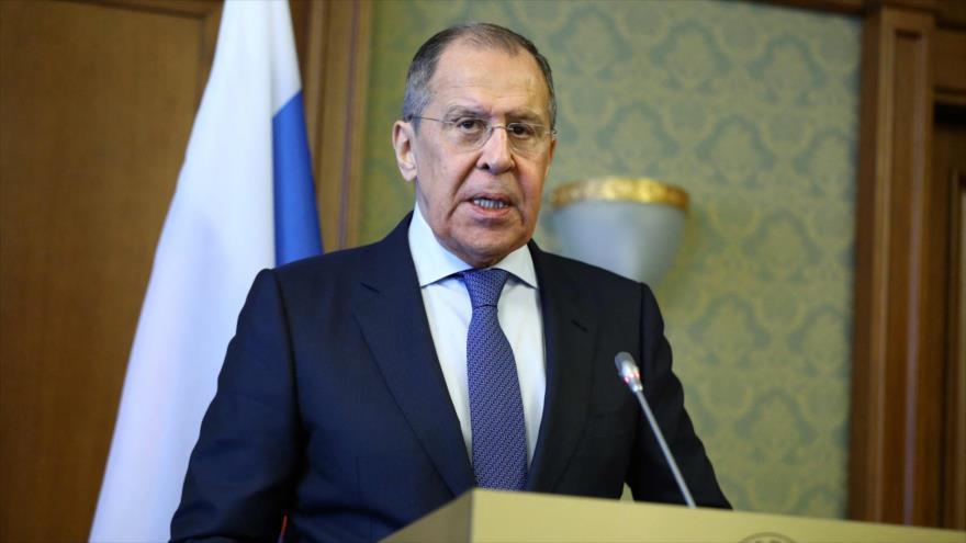 Canciller de Rusia, Serguéi Lavrov, asiste a una conferencia de prensa, en San Petersburgo el 16 de febrero de 2021. (Foto: AFP)