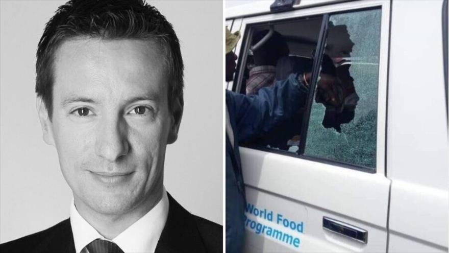 La foto del embajador de Italia en el Congo, Luca Attanasio, y el coche en el que fue asesinado.