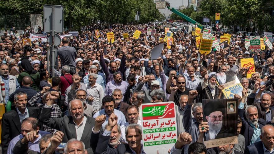 Iraníes se manifiestan en contra de la decisión de EE.UU. de salirse del acuerdo nuclear, Teherán, 11 de mayo de 2018. (Foto: Tasnim)