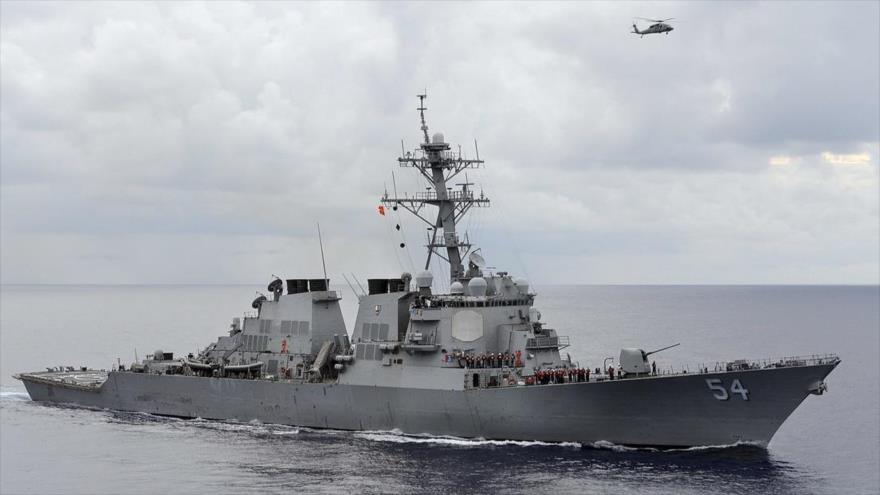 El buque destructor USS Curtis Wilbur de la Armada estadounidense.