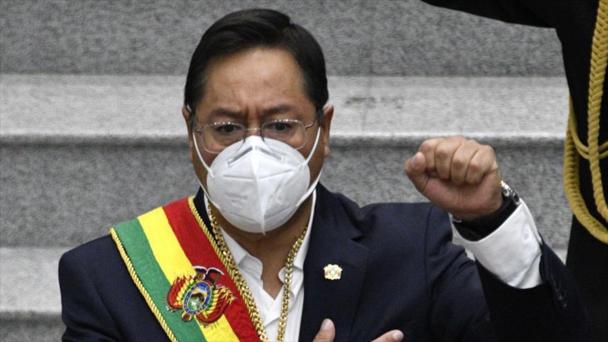 Luis Arce, presidente boliviano, celebra el duodécimo aniversario del Estado Plurinacional de Bolivia, La Paz, 22 de enero 2021, (Foto: AFP)
