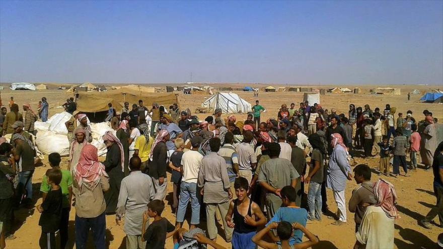 Refugiados siros en el campamento de Rukban.
