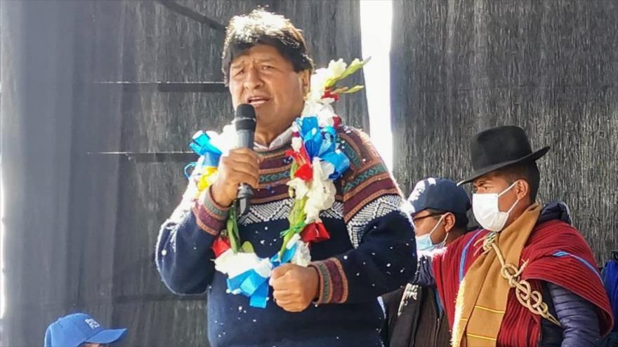 El presidente boliviano, Evo Morales, durante un acto en la ciudad de El Alto, 24 de febrero de 2021.