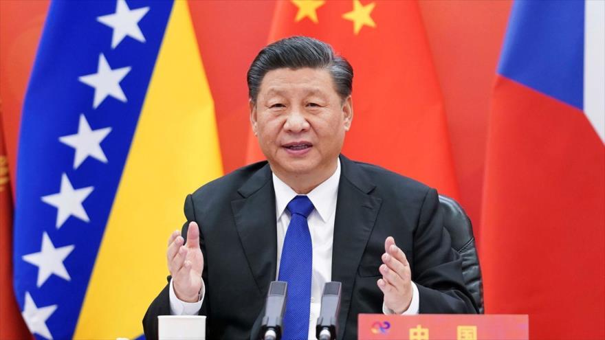 El presidente chino, Xi Jinping, en el Foro Económico Mundial, 25 de enero de 2021. (Foto: AFP)