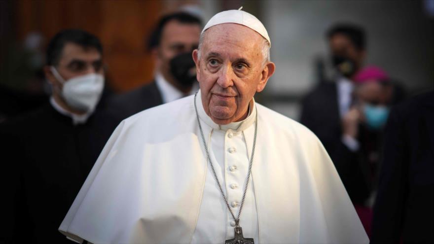 El Papa Francisco durante su visita a Bagdad, capital de Irak, 5 de marzo de 2021. (Foto: AFP)