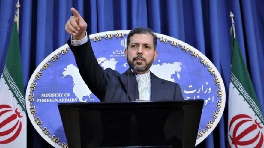 El portavoz de la Cancillería de Irán, Said Jatibzade, en una conferencia de prensa en Teherán, la capital.