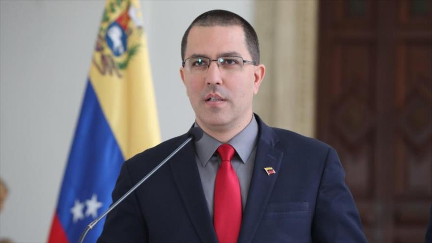 El canciller venezolano, Jorge Arreaza, ofrece una rueda de prensa en Caracas, capital.