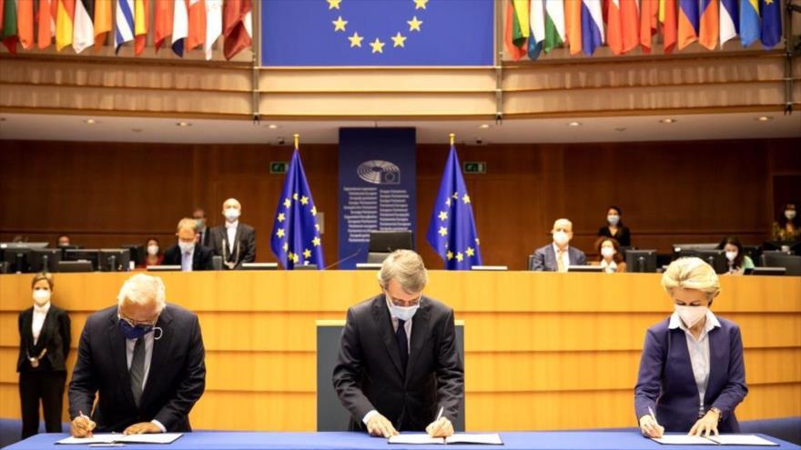 Líderes de la Unión Europea presentan una declaración conjunta sobre el futuro de Europa, en Bruselas, 10 de marzo de 2021.