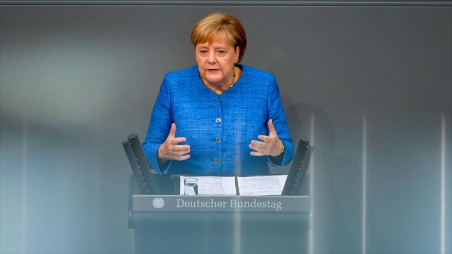 La canciller alemana, Angela Merkel, durante el discurso ante el Parlamento de su país, 11 de septiembre de 2019. (Foto: AFP)