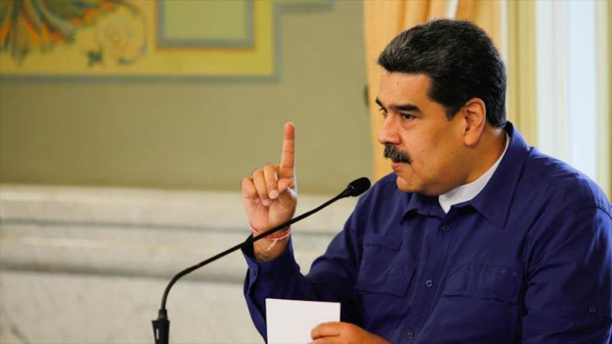 El presidente venezolano, Nicolás Maduro, habla durante un acto en Caracas, 13 de marzo de 2021.