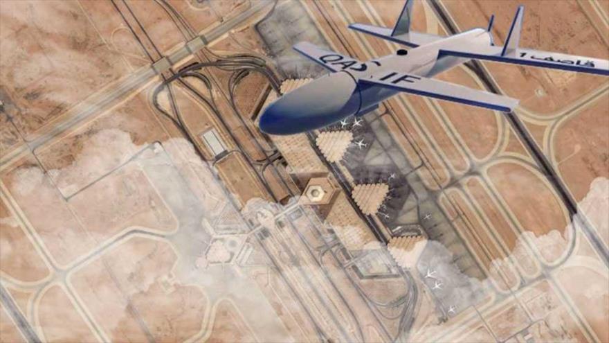 Una imagen representativa sobre un ataque de un dron yemení Qasef-2K contra la base aérea saudí Rey Jalid.