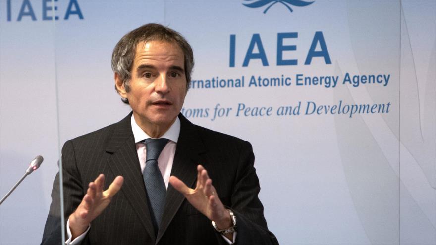 Rafael Grossi, director general de la Agencia Internacional de Energía Atómica, durante una rueda de prensa en Viena, 4 de marzo de 2021. (Foto: AFP)