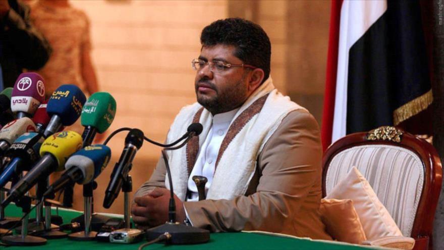 El presidente del Comité Supremo Revolucionario yemení, Muhamad Ali al-Houthi, en una rueda de prensa.