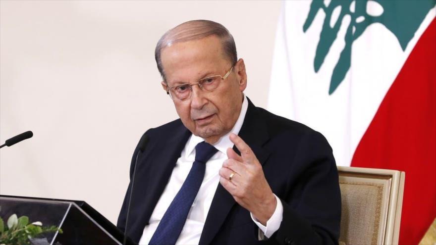 El presidente libanés, Michel Aoun, en una conferencia de prensa televisada en el palacio presidencial en Beirut, 21 de octubre de 2020. (Foto: AFP)