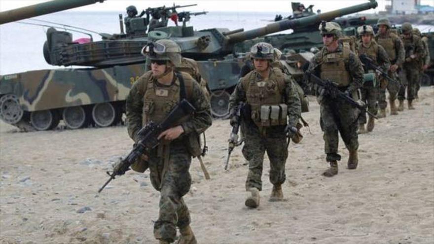 Tropas estadounidenses desplegadas en suelo surcoreano.