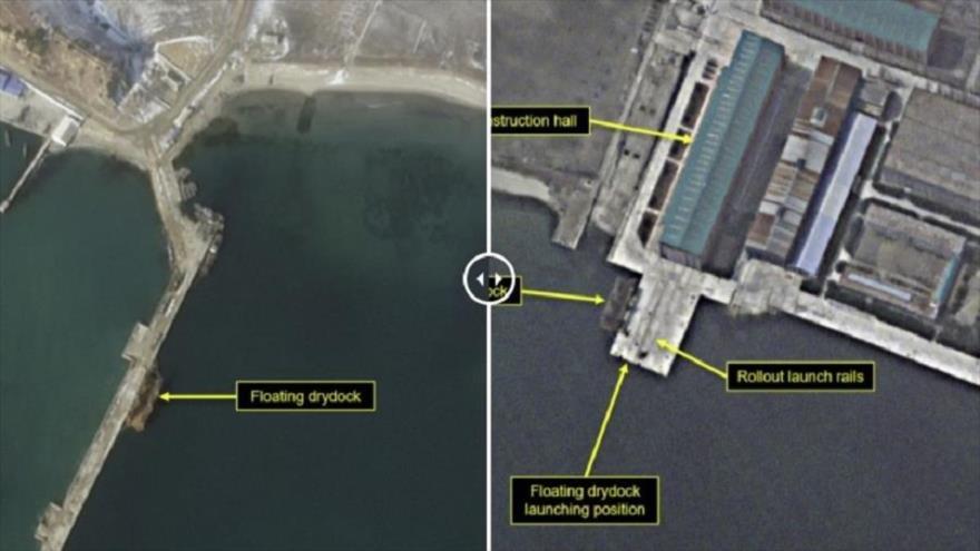 Imagen satelital que muestra la situación del dique seco flotante del astillero Sinpho South de Corea del Norte en el febrero (izda.) y marzo de 2021.