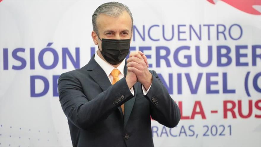 El ministro venezolano de petróleo, Tareck El Aissami, en la ceremonia final de la reunión de CIAN, Caracas 30 de marzo 2021.