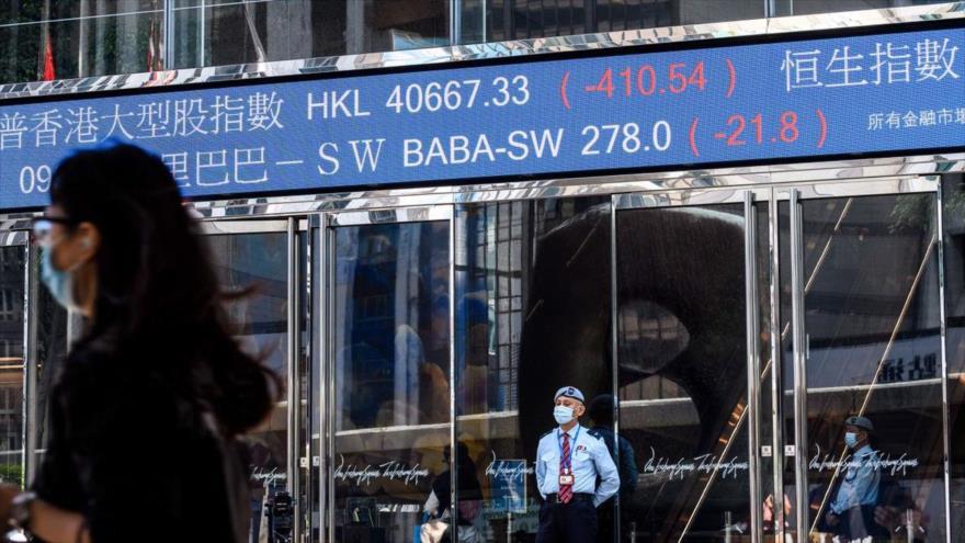 Fuera de las torres de Exchange Square en Hong Kong, 4 de noviembre de 2020. (Foto: AFP)