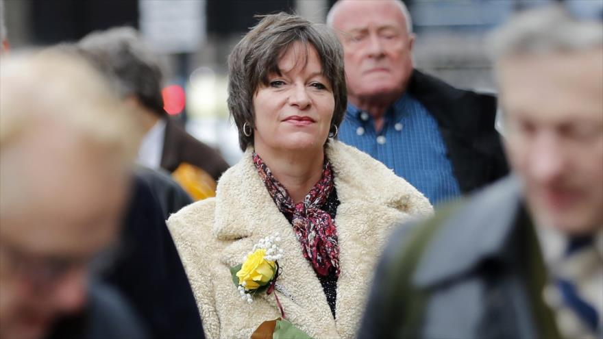La activista antisionista suizo-británica Alison Chabloz llega al Tribunal de Magistrados de Westminster, en Londres, 10 de enero de 2018. (Foto: AFP)
