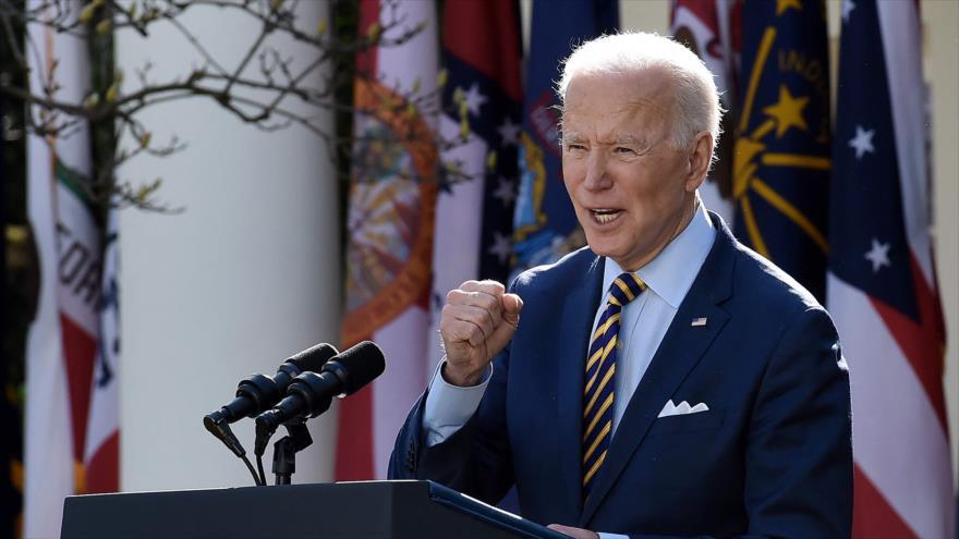 El presidente estadounidense, Joe Biden, ofrece un discurso en la Casa Blanca en Washington DC., 12 de marzo de 2021. (Foto: AFP)