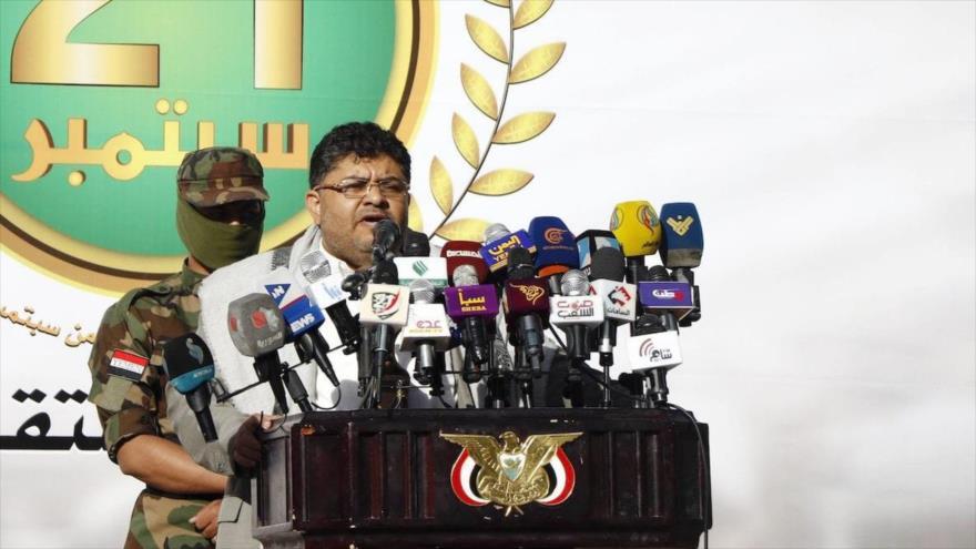 El jefe del Comité Supremo Revolucionario yemení, Muhamad Ali al-Houthi, habla durante un evento en Saná, capital, 21 de septiembre de 2019.