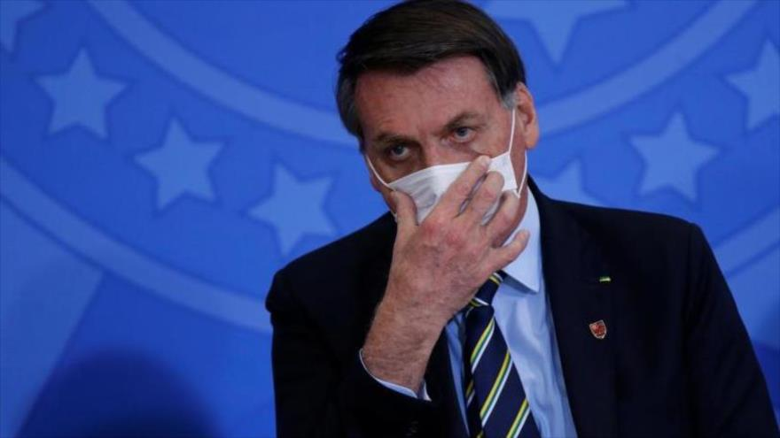 El presidente de Brasil, Jair Bolsonaro, durante una ceremonia en el Palacio de Planalto, en Brasilia (capital), 17 de junio de 2020. (Foto: Reuters)