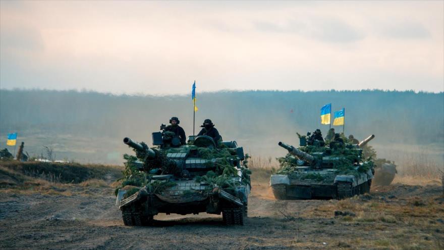Fuerzas ucranianas durante una maniobra militar