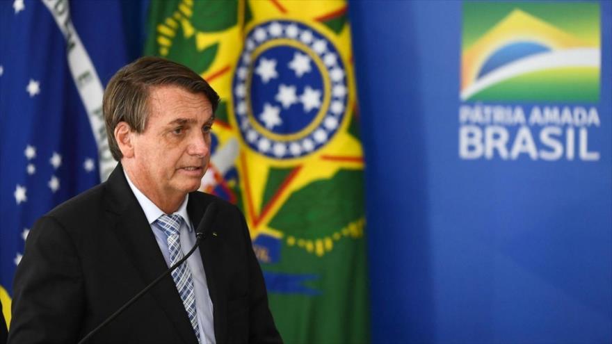 El presidente brasileño, Jair Bolsonaro, durante un acto en Brasilia, la capital. 10 de marzo de 2021. (Foto: AFP)