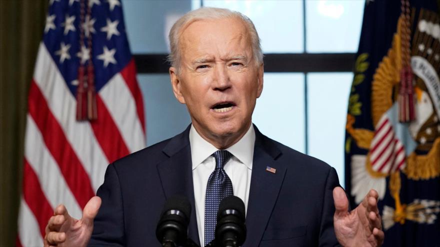 El presidente de Estados Unidos, Joe Biden, habla desde la Sala de Tratados de la Casa Blanca, 14 de abril de 2021, en Washington, D.C. (Foto: AFP)