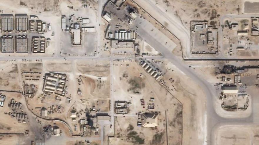 Imagen satelital muestra daños en base de EE.UU. Ain al-Asad, en Al-Anbar, oeste de Irak, tras ataque de CGRI de Irán, 8 de enero de 2020. (Foto: AFP)