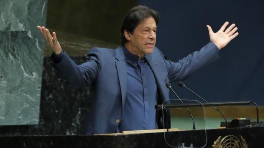El primer ministro de Pakistán, Imran Jan, en una sesión de la Asamblea General de las Naciones Unidas, Nueva York, EE.UU. 27 de septiembre de 2019, (Foto:Reuters)