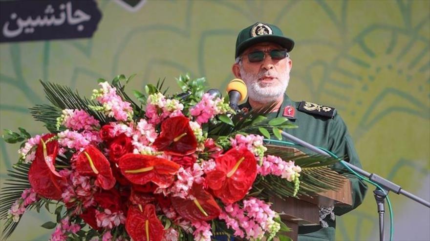 El general de brigada Esmail Qaani, comandante de Fuerza Quds del CGRI de Irán, en el funeral del general Heyazi, Isfahán, 20 de abril de 2021. (Foto: Tasnim)