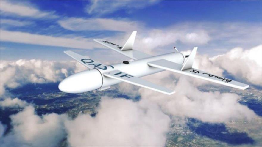 Foto representativa de un dron tipo Qasef-2k, de fabricación yemení.