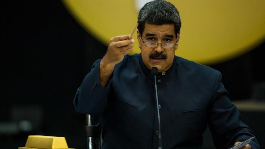 El presidente venezolano, Nicolás Maduro, ofrece un discurso sobre el asunto de las reservas de oro de Venezuela en el extranjero.