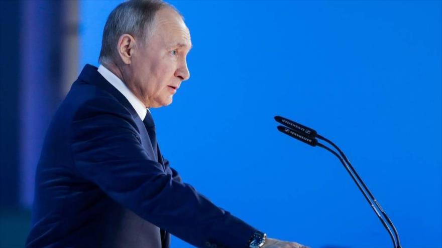 El presidente ruso, Vladimir Putin, en la sesión anual del Parlamento en la Asamblea Federal, 21 de abril de 2021.