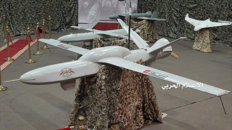 Dron yemení modelo Samad-3, presentado en una exposición militar en Saná, la capital de Yemen.