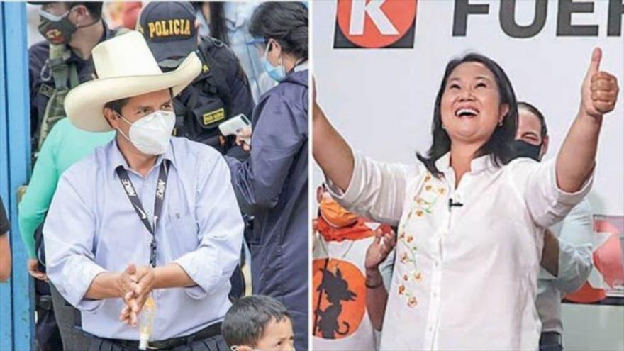 Candidatos presidenciales de las elecciones presidenciales de Perú, Pedro Castillo y Keiko Fujimori.