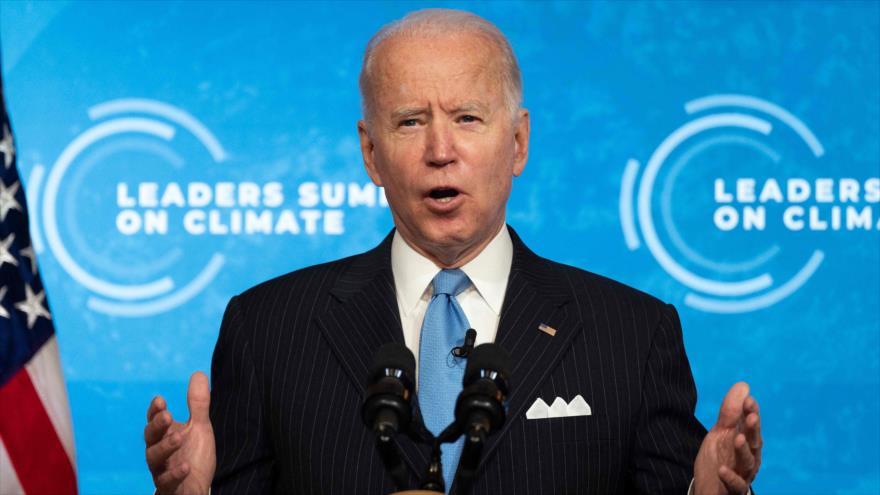 El presidente de EE.UU., Joe Biden, habla durante un discurso en Washington, la capital, 23 de abril de 2021. (Foto: AFP)