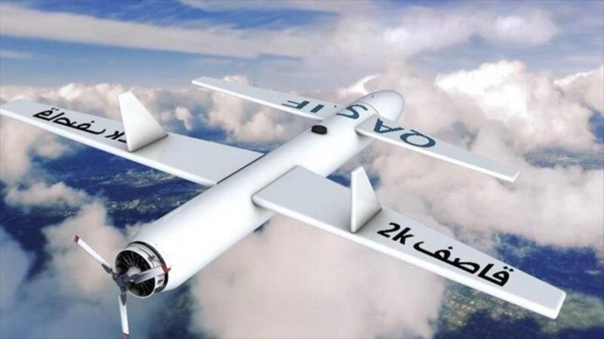 Una imagen representativa de un dron del tipo Qasef-2k, de fabricación yemení.